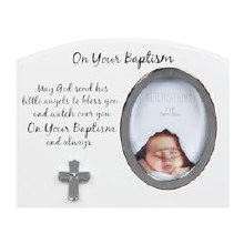 FW918 White and Silver Baptism Frame