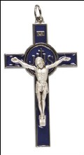 Blue Enamel Metal Crucifix (8cm)