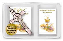 First Holy Communion Pink Enamel Crucifix