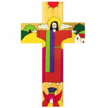 Christ is Risen Hand Painted Wooden Cross (38cm)
