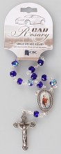 Blue Single Decade Car Rosary Beads