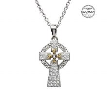 Sterling Silver Gold Plate Celtic Cross With Swarovski Crystals
