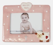Pink Lamb Bless This Baby Photo Frame