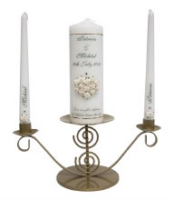 Personalised Ivory Wedding Candle with Heart of Flowers