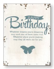 Happy Birthday Distressed Wood Plaque
