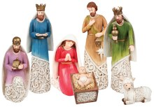 Modern Coloured Nativity Set