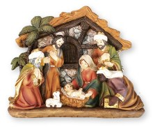 Nativity Scene with 7 Figures and Backdrop