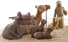 Willow Tree Shepherd and Stable Animals 17.5cm