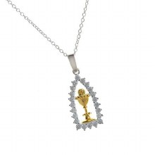 Silver and Diamonte First Holy  Communion Necklace
