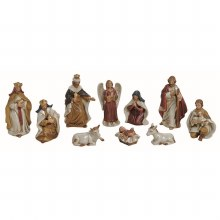 Colour Porcelain 10 piece Nativity Set 12cm