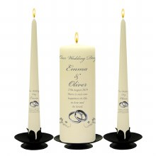 Personalised Butterflies Silver Rings Wedding Candle