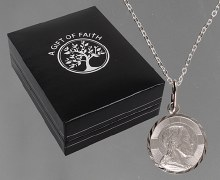 Round St. Christopher Medal with Diamond Cut edges.