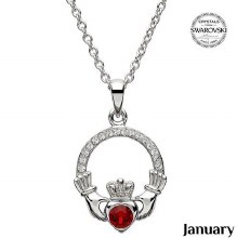 Claddagh Birthstone Necklace With Swarovski Crystals (January)
