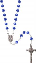 Blue Crystal Sterling Silver Rosary Beads