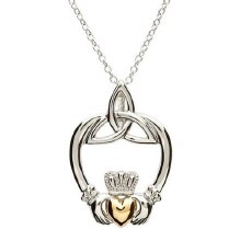 Sterling Silver Gold Plate Trinity Claddagh Pendant