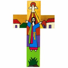 Christ is Risen Hand Painted Cross (25cm)
