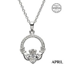 Claddagh Birthstone Necklace With Swarovski Crystals (April)