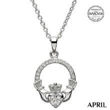 Claddagh Birthstone Necklace With Swarovski Crystals (April)