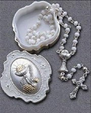 White Glass First Holy Communion  Rosary Beads
