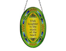 Irish Laughter Oval Stained Glass Hanging Panel
