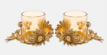Gold Double Glass Candleholder Set
