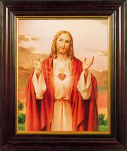 Sacred Heart Print With Wooden Frame (26 x 21cm)