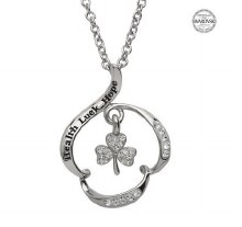 Sterling Silver Health Luck Hope Swarovski Shamrock Pendant