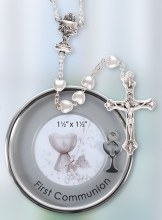 Silver Plated First Holy Communion Keepsake  with Pearl Glass Rosay Beads