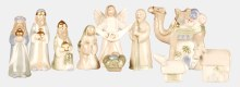 Nativity 10 piece porcelain with gold highlights