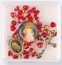 Divine Mercy Glass Rosary Beads