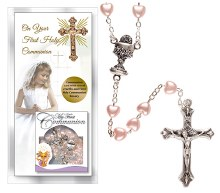 Girl First Holy Communion Card with Pink Rosary Beads