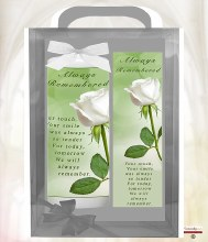White Rose Remembrance Boxed Candle with Bookmark
