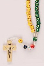 Colour Wooden Missionary Rosary Beads with Prayer Leaflet