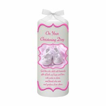 Baby Girl Scroll and Booties  Christening Candle