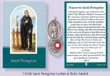 Prayercard to St Peregrine with relic medal