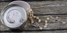 Confirmation Pearl Rosary in Silver Plated Presentation Box