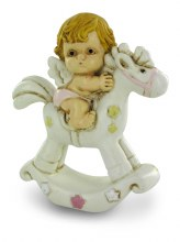 Pink Baby Girl Angel on Rocking Horse
