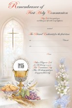 Symbolic First Holy Communion Certificate