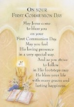 Symbolic First Holy Communion Prayer Card