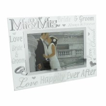 "Juliana 3D Words Mr & Mrs 6""x4"" Glass Mirror Wedding Day Photo Frame"