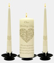 Vintage Heart Gold on Ivory Wedding Candle