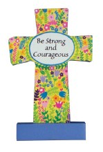 12541 Be Strong Wood Message Cross 9cm