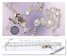 C6362 Crystal First Holy Communion Rosary Bracelet