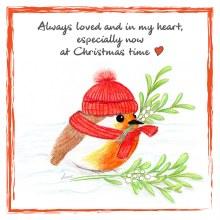 CR004 In My Heart Christmas Robin Card