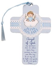 12460 Bless This Baby Boy Wood Cross 13cm