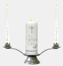White Plain Rings and Cross Wedding Candle