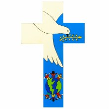 Dove of Peace Hand Painted Wooden Cross (25cm)