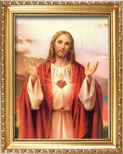 83311 Sacred Heart Picture in Gold Frame 25x30cm
