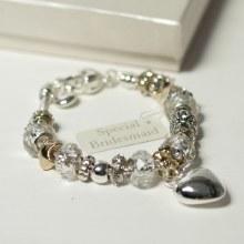 Amore Bridesmaid Silver/Gold Charm Bracelet