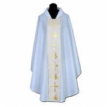 White Chasuble with Cream orphrey and intricate Cross and Wheat Design